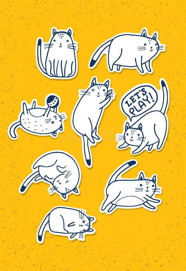 Ensemble de chats tirés par la main Concept drôle de croquis d'animal familier de vecteur illustration stock