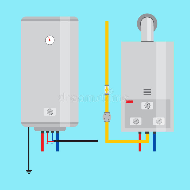 Ensemble de chauffe-eau de gaz et de chauffe-eau électrique Icône plate pour illustration libre de droits