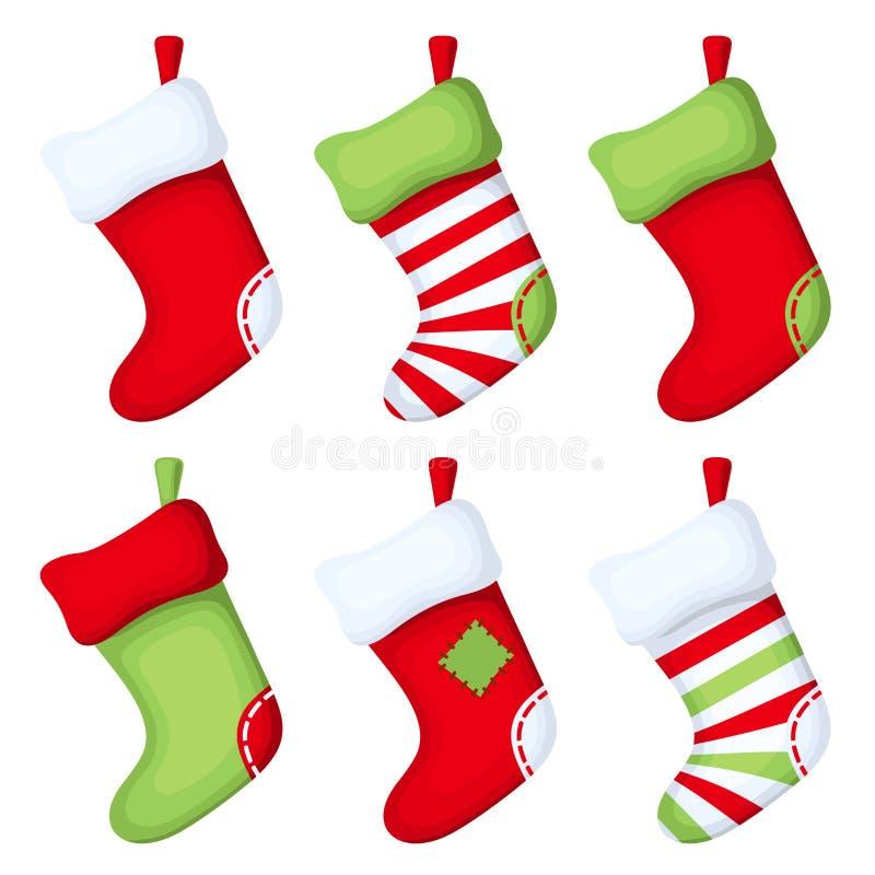 Ensemble de chaussettes de Noël Illustration de vecteur illustration de vecteur