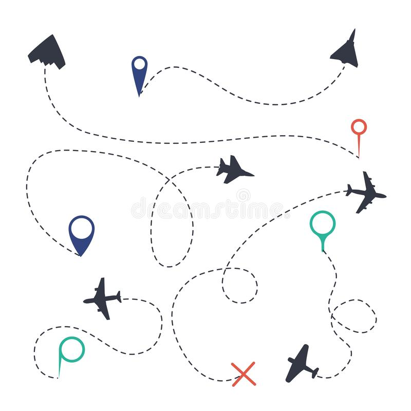 Ensemble de chemin d'air Ligne traces d'avion avec les symboles de points de traînées de mouche et la collection d'isolement par  illustration stock