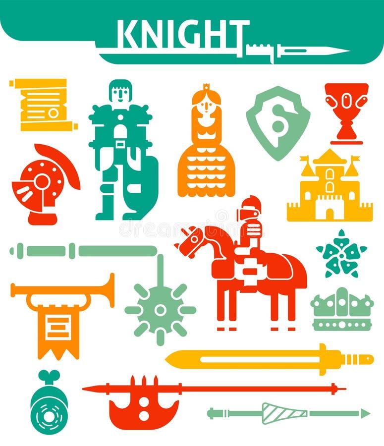 Ensemble de chevalier monochrome d'icônes illustration stock