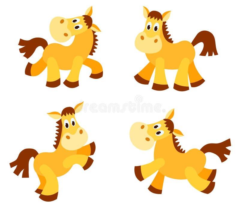 Ensemble de chevaux heureux. illustration libre de droits