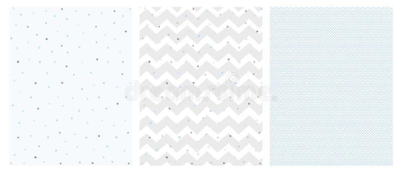 Ensemble de 3 Chevron et Dots Vector Patterns sensibles intelligents illustration stock