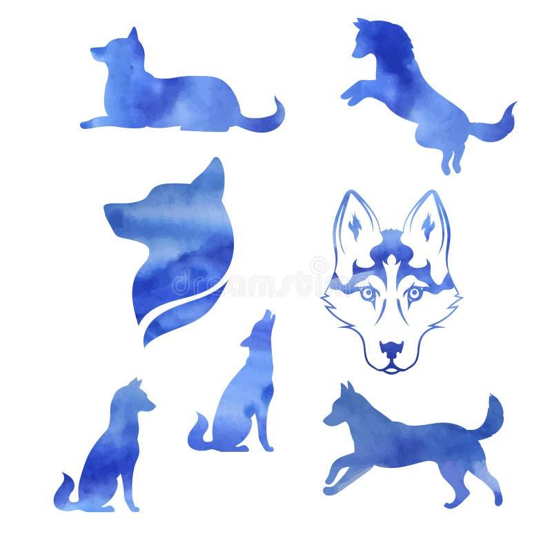 Ensemble de chien de traîneau d'aquarelle illustration stock