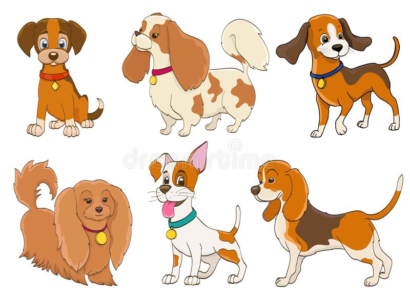 Ensemble de chiens de bande dessinée de diverses races sur le blanc illustration de vecteur