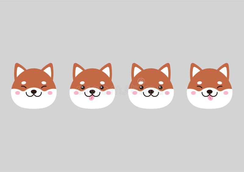 Ensemble de chiens d'inu de shiba de museaux photographie stock libre de droits