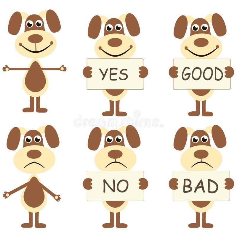Ensemble de chiens de bande dessinée avec des signes illustration de vecteur
