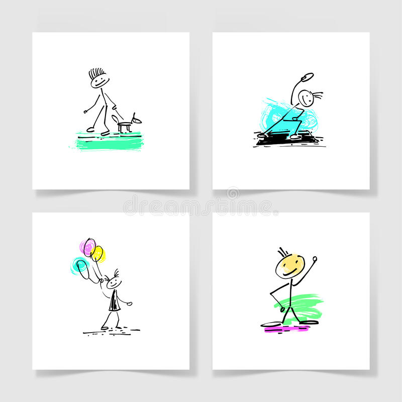 Ensemble de chiffre humain de bâton de griffonnage de croquis de dessin de main de quatre marqueurs illustration libre de droits