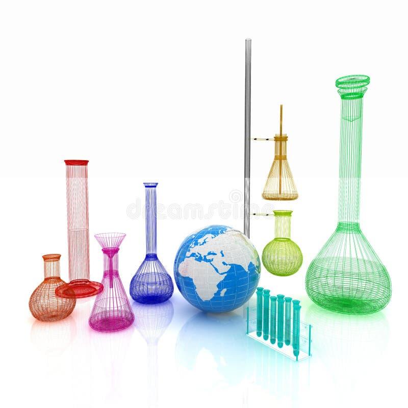 Ensemble de chimie, avec des tubes à essai, et des bechers remplis illustration de vecteur