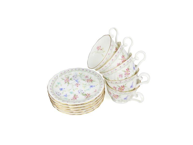 Ensemble de Chinois de tasses de thé sur le fond blanc images stock