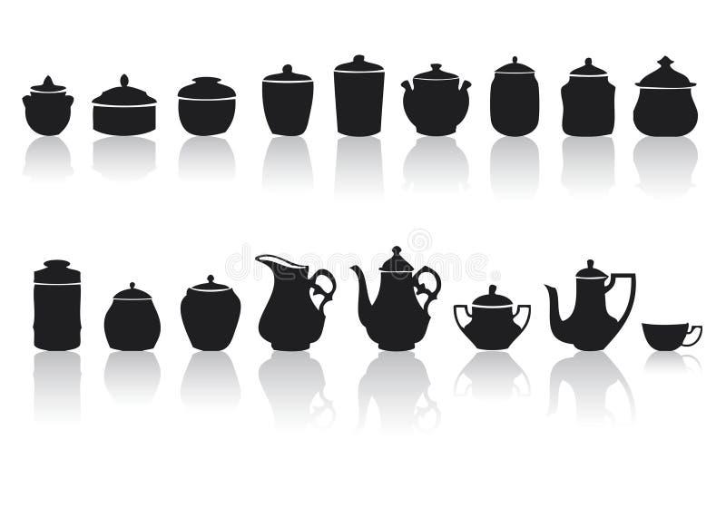 Ensemble de chocs et de poterie différents illustration de vecteur