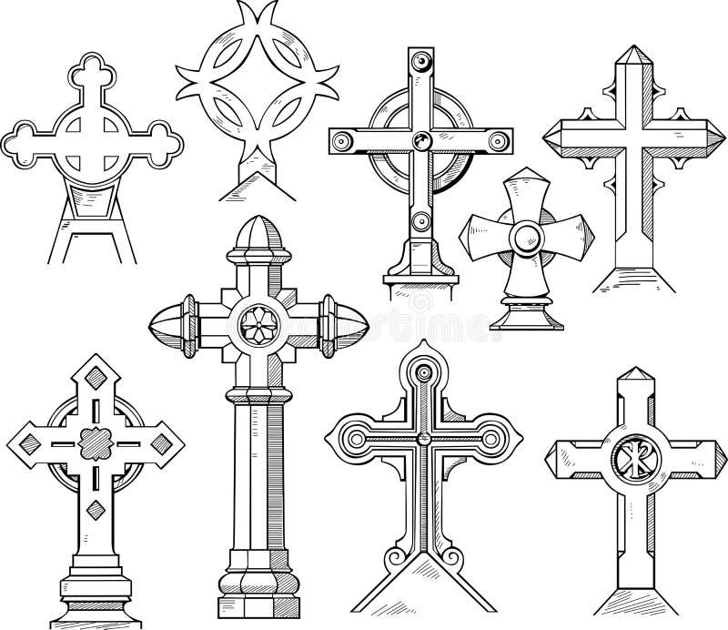 Ensemble de Christian Cross Shapes illustration libre de droits
