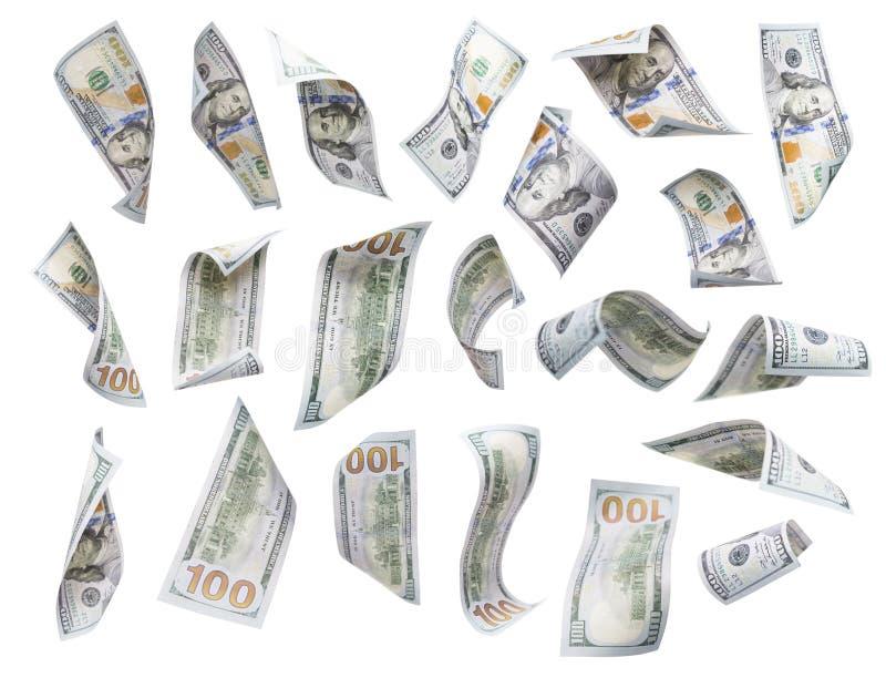 Ensemble de chute ou de flotter $100 factures chacune d'isolement images libres de droits