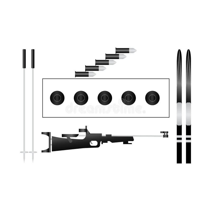 Ensemble de cible d'équipement de biathlon, skis, cartouches, fusil, bâtons Icônes de sport d'hiver Illustration de vecteur Fond  illustration stock