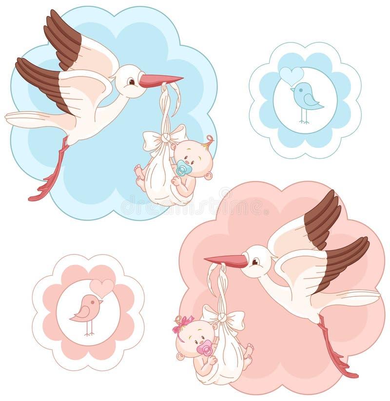 Ensemble de cigognes et de bébés illustration de vecteur