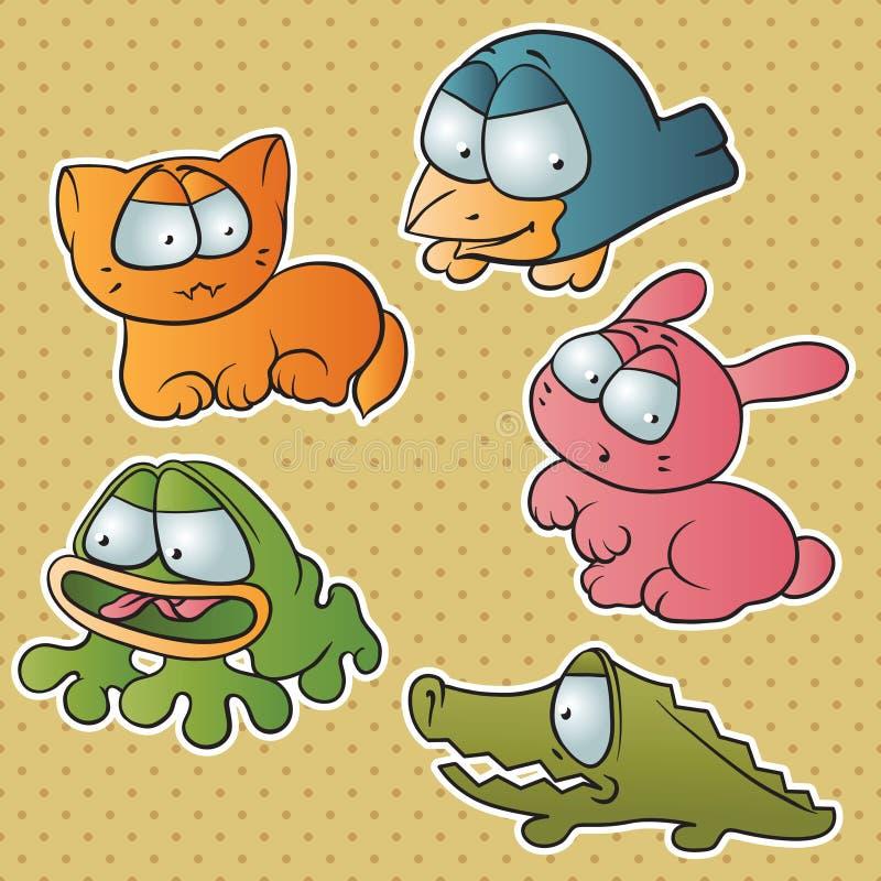 Ensemble de cinq animaux mignons de vecteur de bande dessinée illustration de vecteur