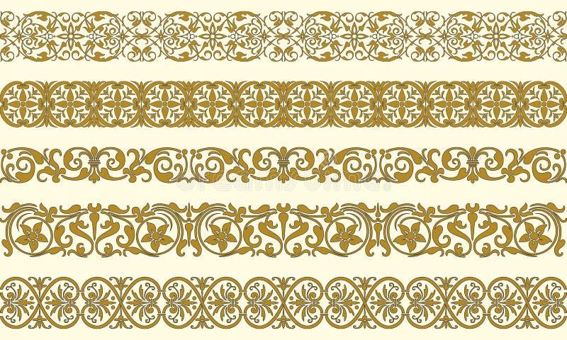 Ensemble de cinq cadres décoratifs illustration stock