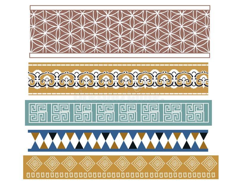 Ensemble de cinq conceptions babyloniennes illustration stock