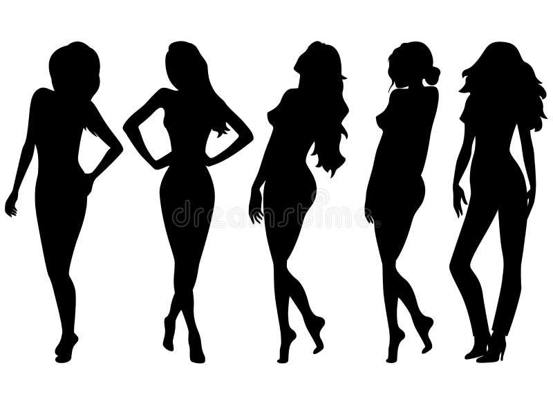 Ensemble de cinq silhouettes femelles au-dessus de blanc illustration de vecteur