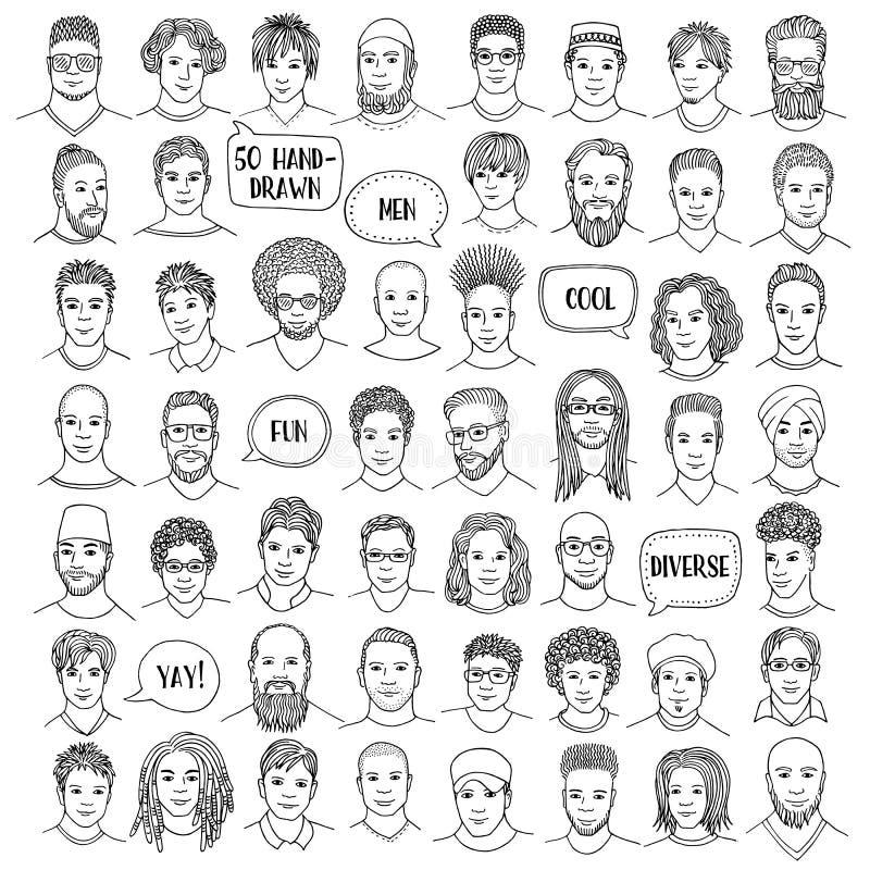 Ensemble de cinquante visages masculins tirés par la main illustration libre de droits