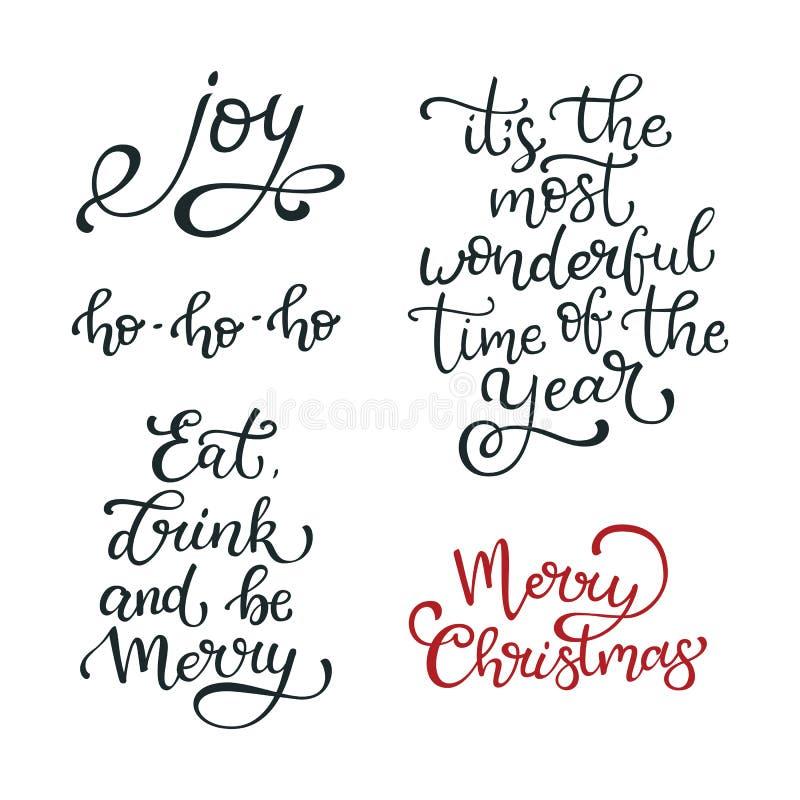 Ensemble de citations tirées par la main de vecteur Joyeux Noël joie Mangez, drin illustration stock