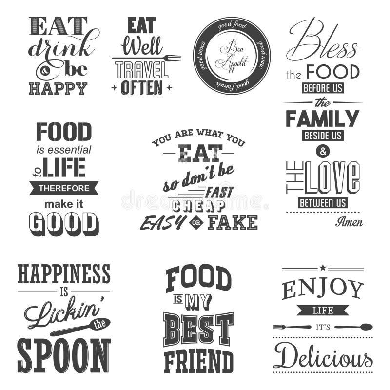 Ensemble de citations typographiques de nourriture de vintage illustration stock