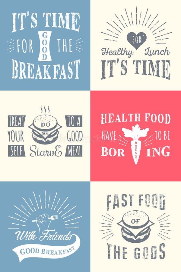Ensemble de citations typographiques de nourriture de vintage illustration de vecteur