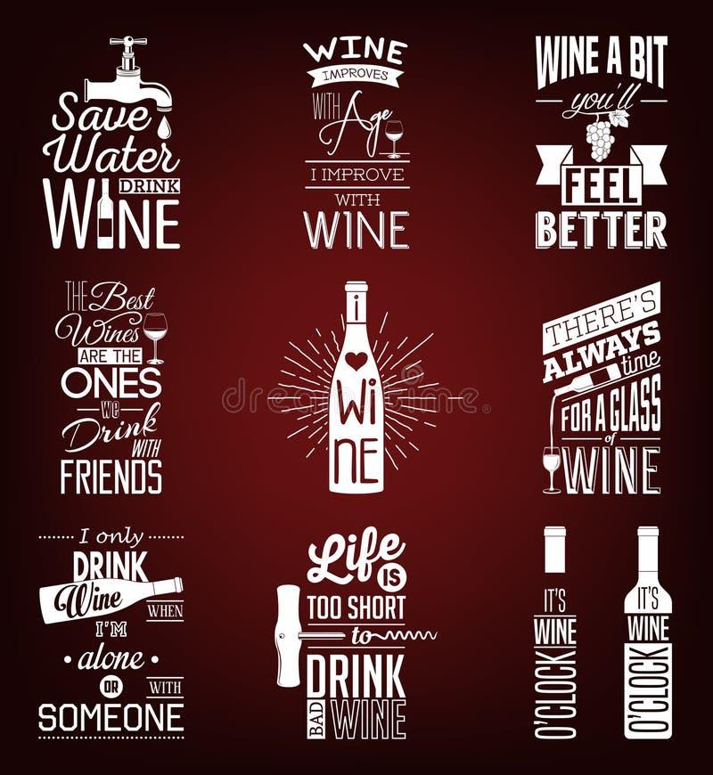 Ensemble de citations typographiques de vin de vintage illustration stock