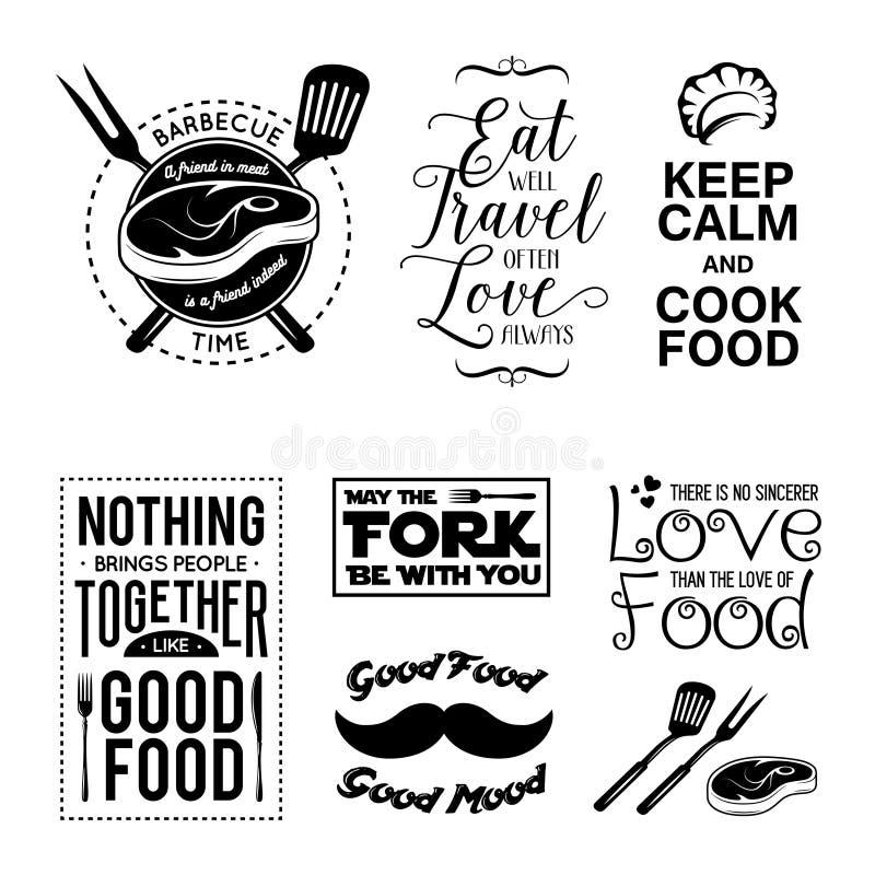 Ensemble de citations typographiques relatives de nourriture de vintage Illustration de vecteur illustration de vecteur