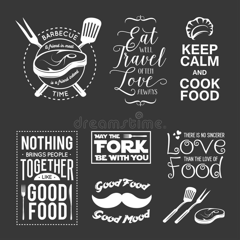 Ensemble de citations typographiques relatives de nourriture de vintage Illustration de vecteur illustration stock