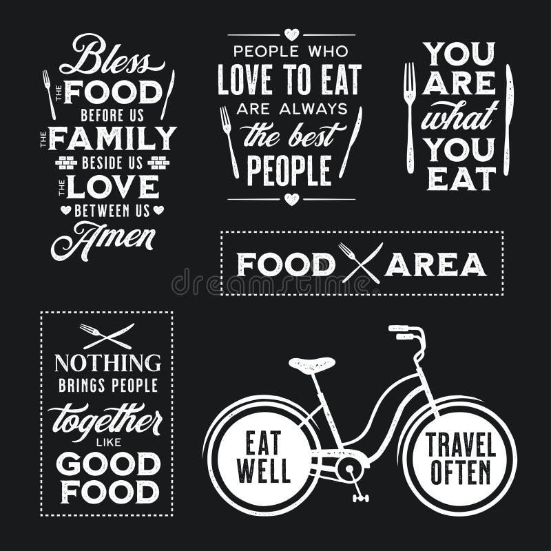 Ensemble de citations typographiques relatives de nourriture de vintage Illustration de vecteur illustration libre de droits