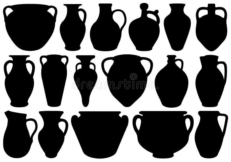 Ensemble de Clay Pottery différent illustration stock