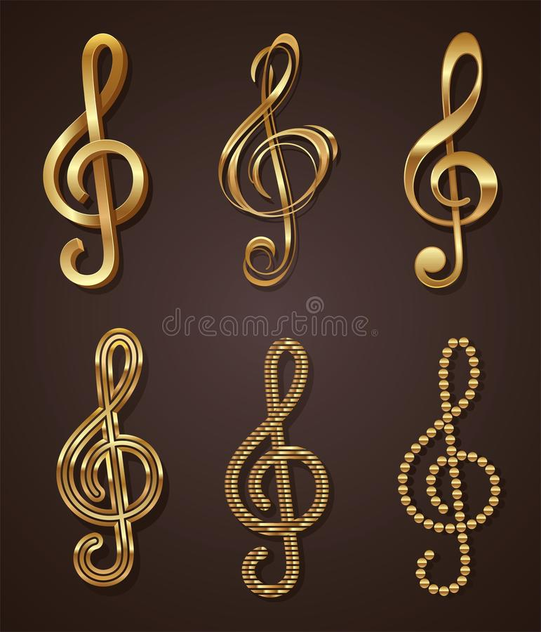Ensemble de clef triple d'or illustration stock