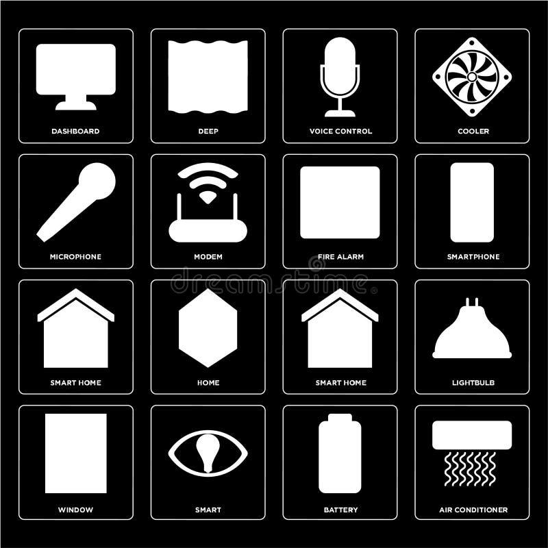 Ensemble de climatiseur, batterie, fenêtre, maison futée, alarme d'incendie, illustration stock