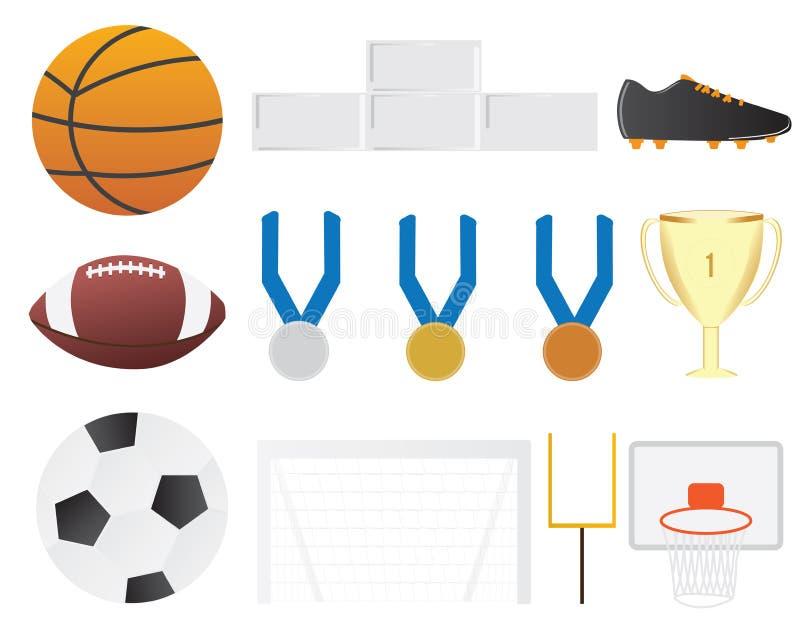 Ensemble de clipart d'éléments de sport collectif Basket-ball, le football, éléments de vecteur du football illustration de vecteur