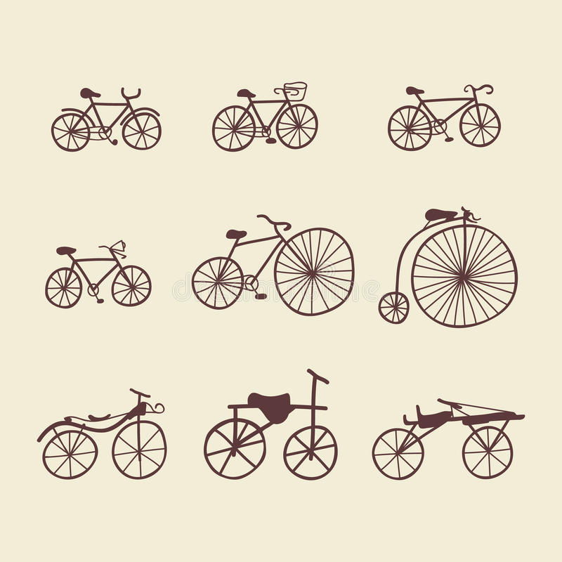 Ensemble de Clipart de bicyclettes de griffonnage illustration stock