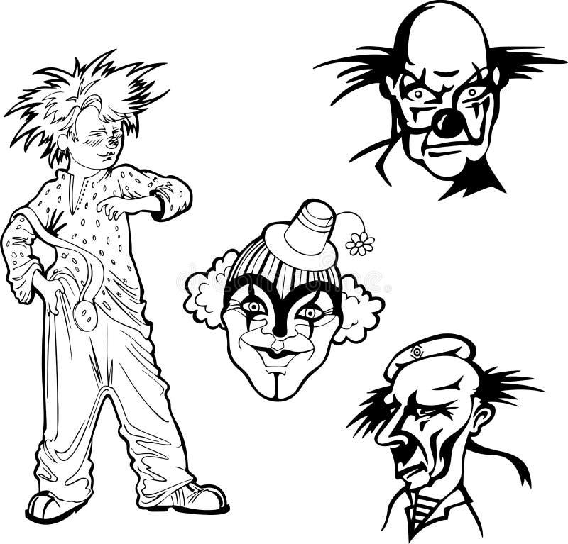 Ensemble de clowns illustration stock