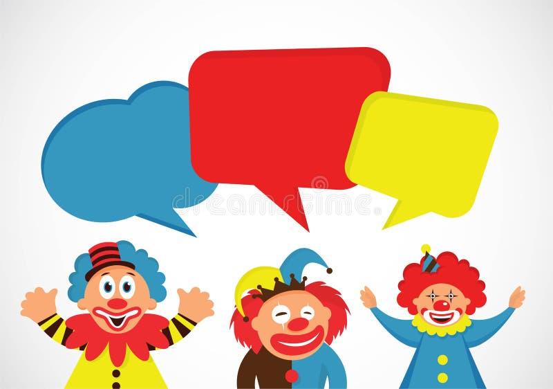 Ensemble de clowns colorés avec des bulles de la parole illustration de vecteur