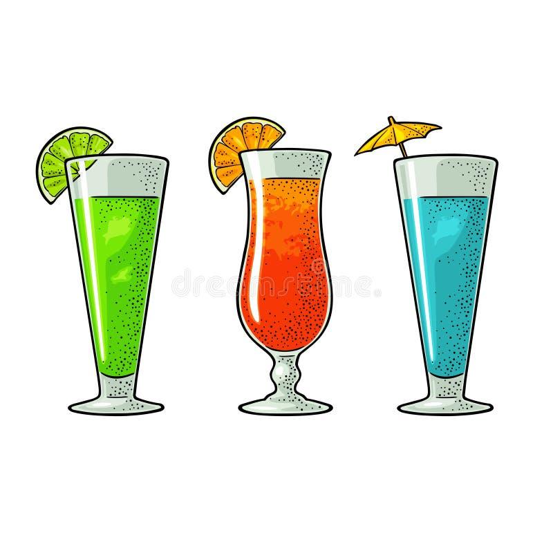 Ensemble de cocktail d'alcool Illustration de gravure de vecteur de vintage illustration de vecteur