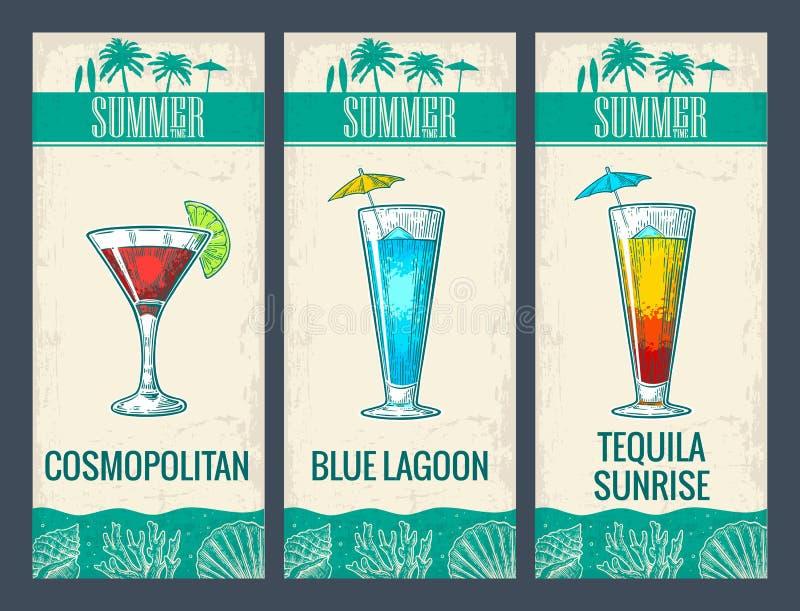 Ensemble de cocktail d'alcool Lagune cosmopolite et bleue et lever de soleil de tequila illustration libre de droits
