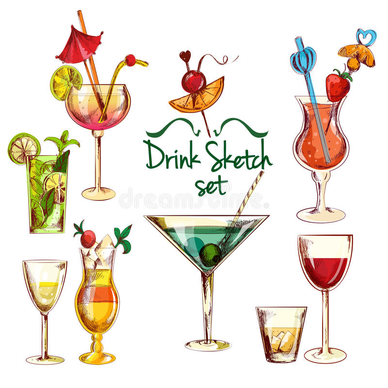 Ensemble de cocktail de croquis illustration stock