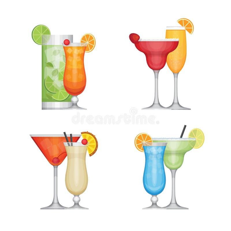 Ensemble de cocktail différent d'alcool par des verres Style plat de conception, illustration stock
