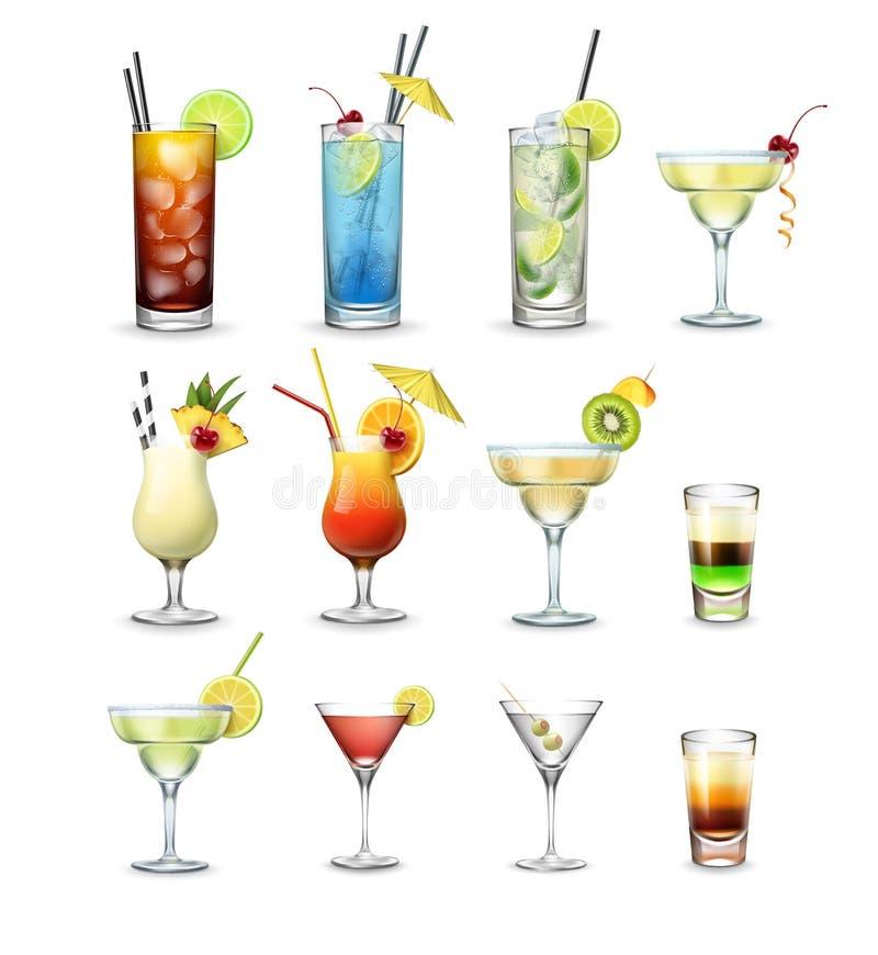 Ensemble de cocktails illustration stock