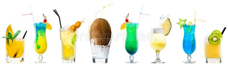 Ensemble de cocktails alcooliques classiques sur le blanc image libre de droits