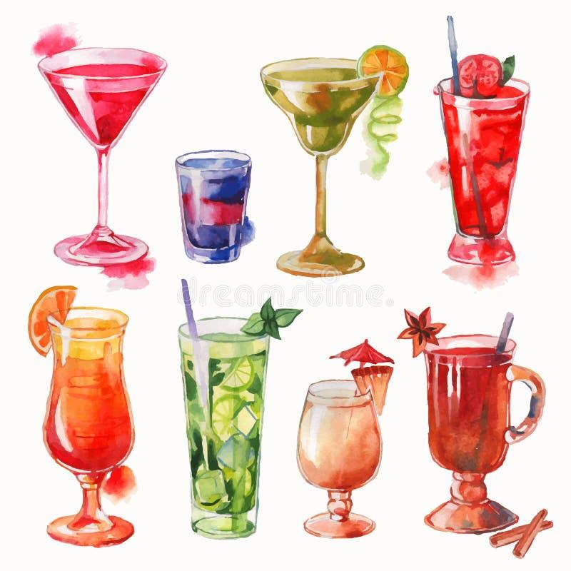 Ensemble de cocktails d'aquarelle illustration stock
