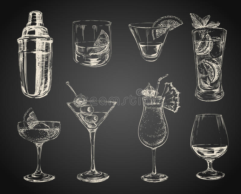 Ensemble de cocktails de croquis et de boissons d'alcool illustration stock