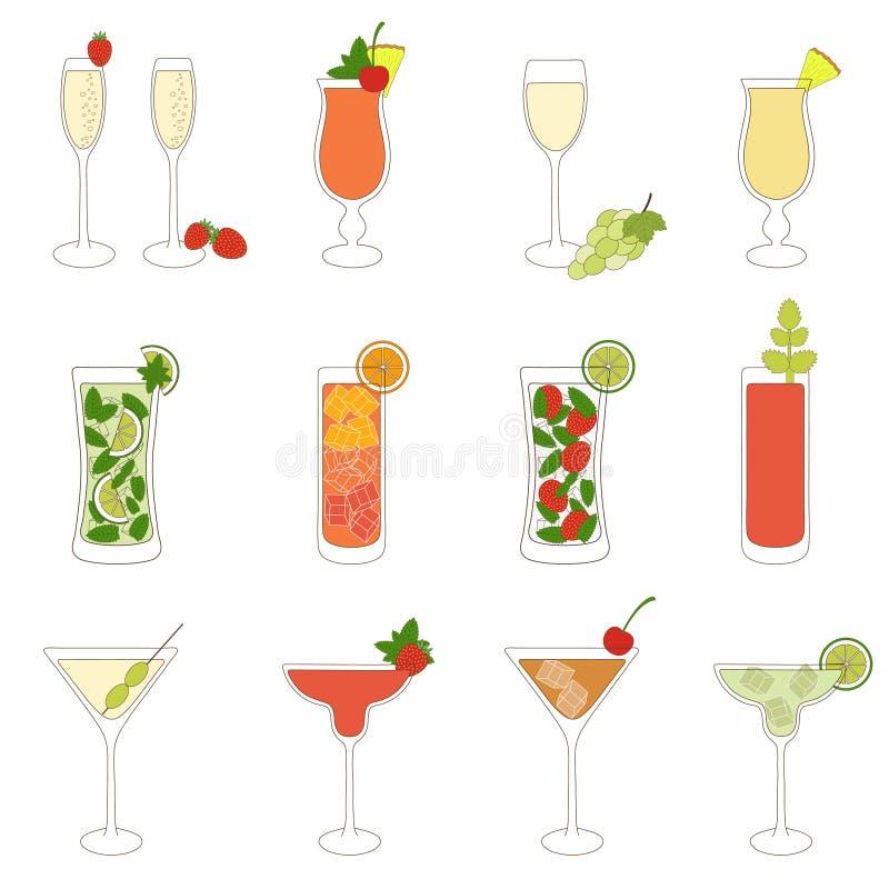Ensemble de cocktails et de boissons d'alcool illustration libre de droits