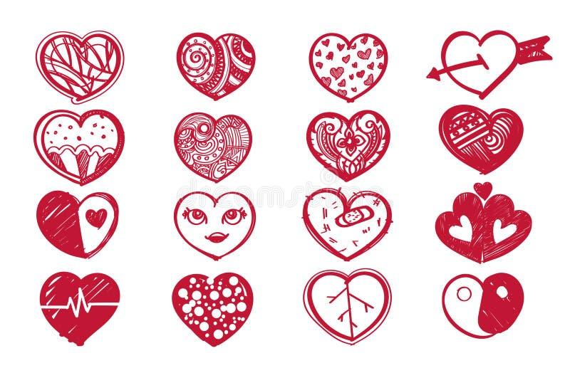 Ensemble de coeur de croquis et jour de valentine illustration stock