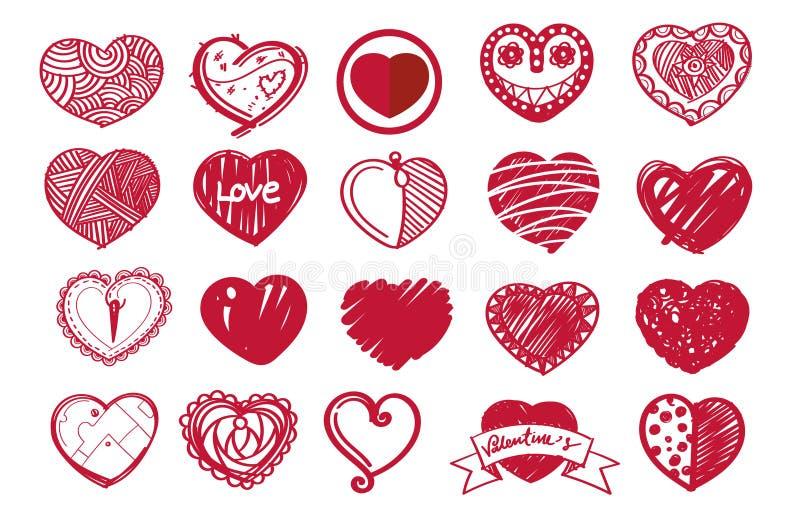 Ensemble de coeur de croquis et jour de valentine illustration de vecteur