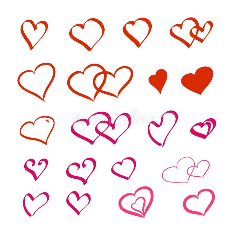 Ensemble de coeur dessiné à la main dans la couleur rouge Symbole de jour de Valentines Concept d'amour Digital peignant le vecte illustration libre de droits